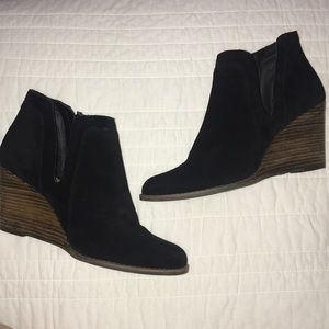 Lucky Brand suede wedge booties